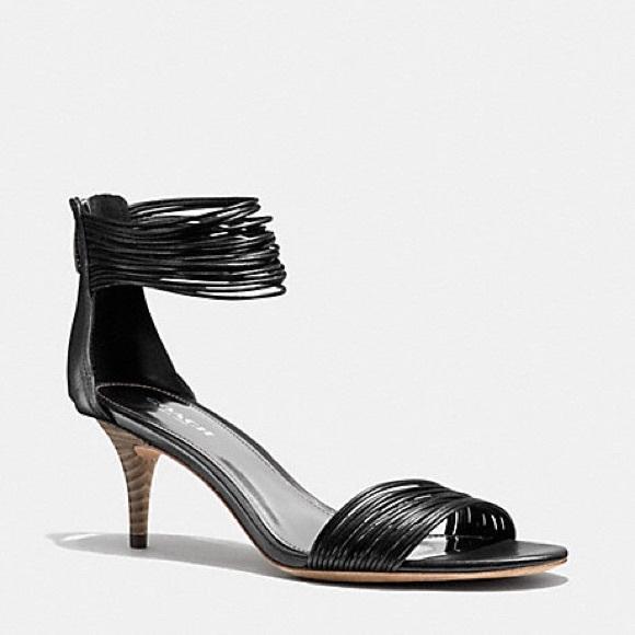 9e0dd4f4633 Coach Shoes - Coach black Manya ankle strap kitten heel sandals